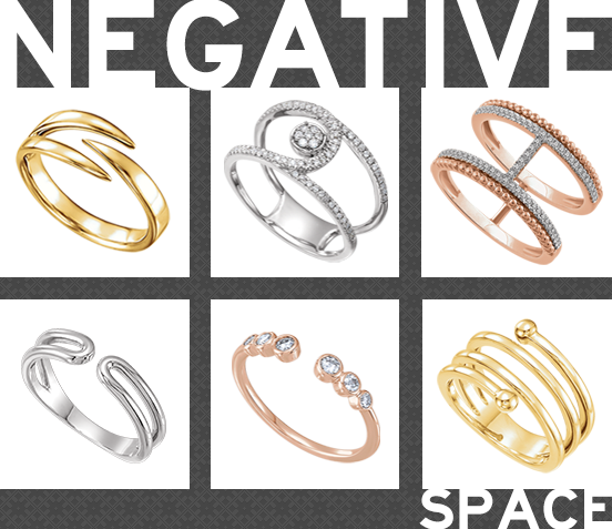 Negative Space Jewelry Is Leaving A Positive Impression On The Industry Keep This Trend Top Of Mind As You Are Stocki Space Jewelry Space Rings Jewelry Trends