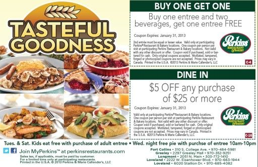 photo about Perkins Printable Coupons called Specials at Perkins: Order A single Entree + Attain 1 Free of charge (with purch