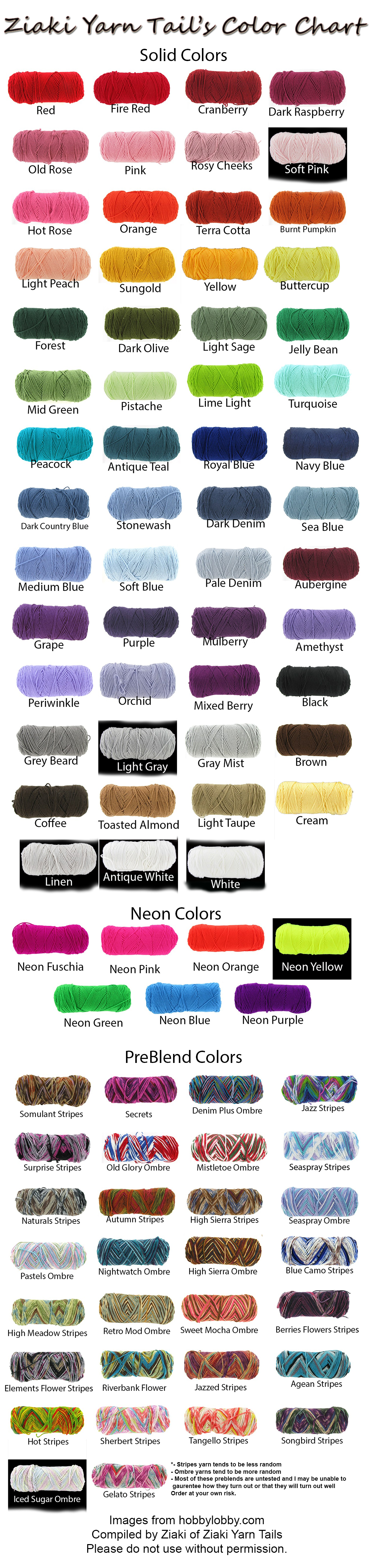 Ziaki Yarn Tails Color Chart By Serenitymoonwolf Crochet