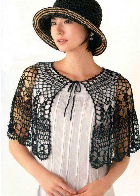 Beautiful Black Cape free crochet graph pattern | Crochet Love ...
