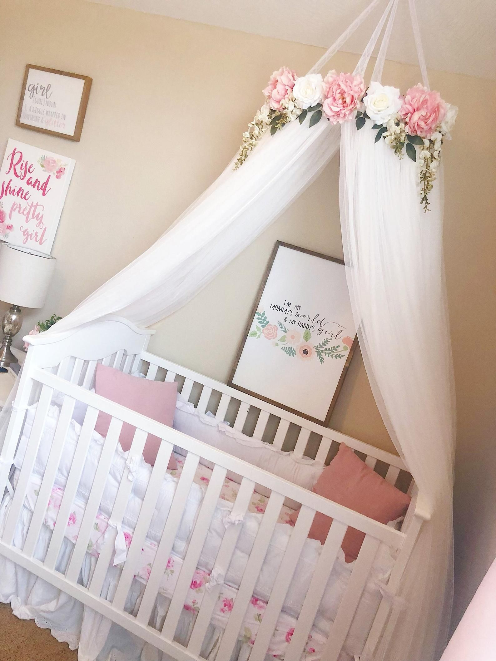 Aurora Canopy Serene Floral Crib Canopy Bed Crown Etsy In 2020 Girl Nursery Room Crib Canopy Bed Crown