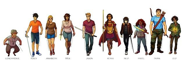 Coach Hedge,Percy, Annabeth, Piper, Jason Reyna, Nico, Hazel, Frank(should not be that tall) and Leo