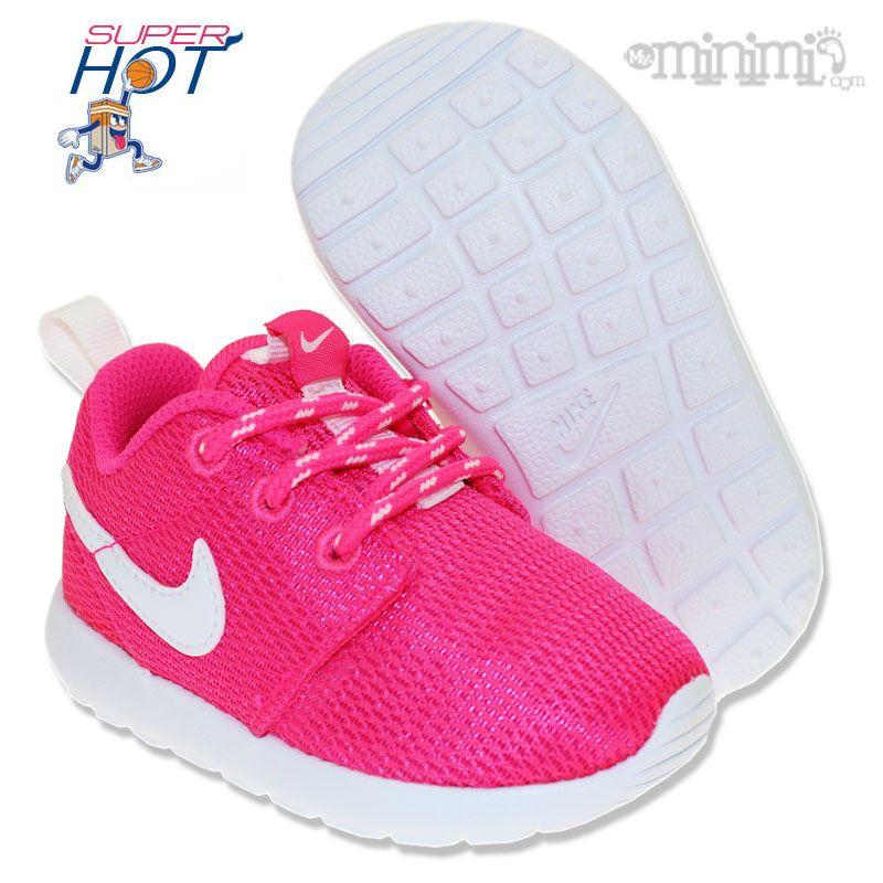 Nike Roshe Run Impression Rose Et Bleu Bebe