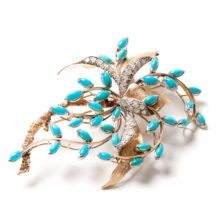 Filigree Yellow Gold Brooch with Turquoises & Diamonds, 20th C ~ € 1,830