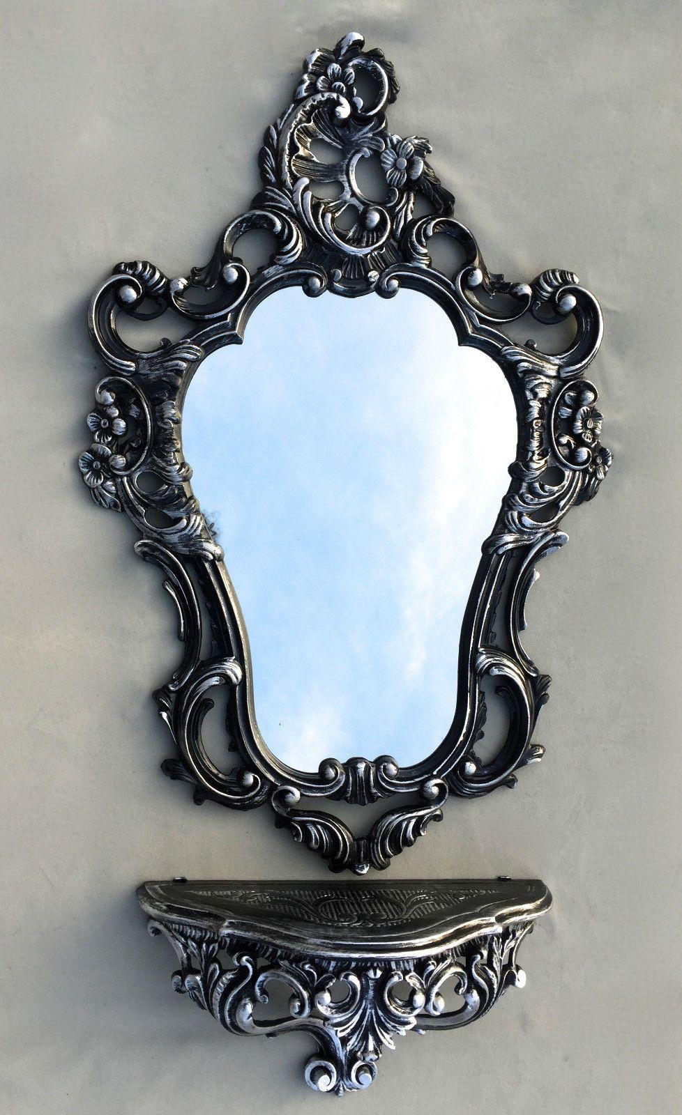 Details zu Wandspiegel Schwarz Silber Barock mit Wandkonsole Antik ...