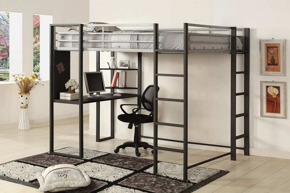 Black Loft Bed With Desk Desk Style Floor Lamp