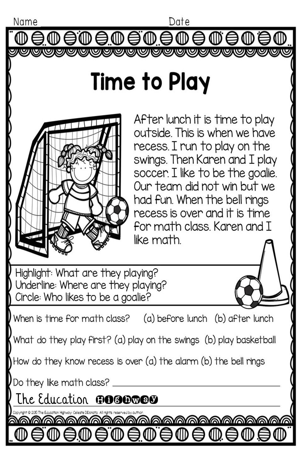 Reading Passages School Time Theme With Comprehension Questions Reading Fluency Passages Reading Fluency Fluency Passages [ 1440 x 960 Pixel ]
