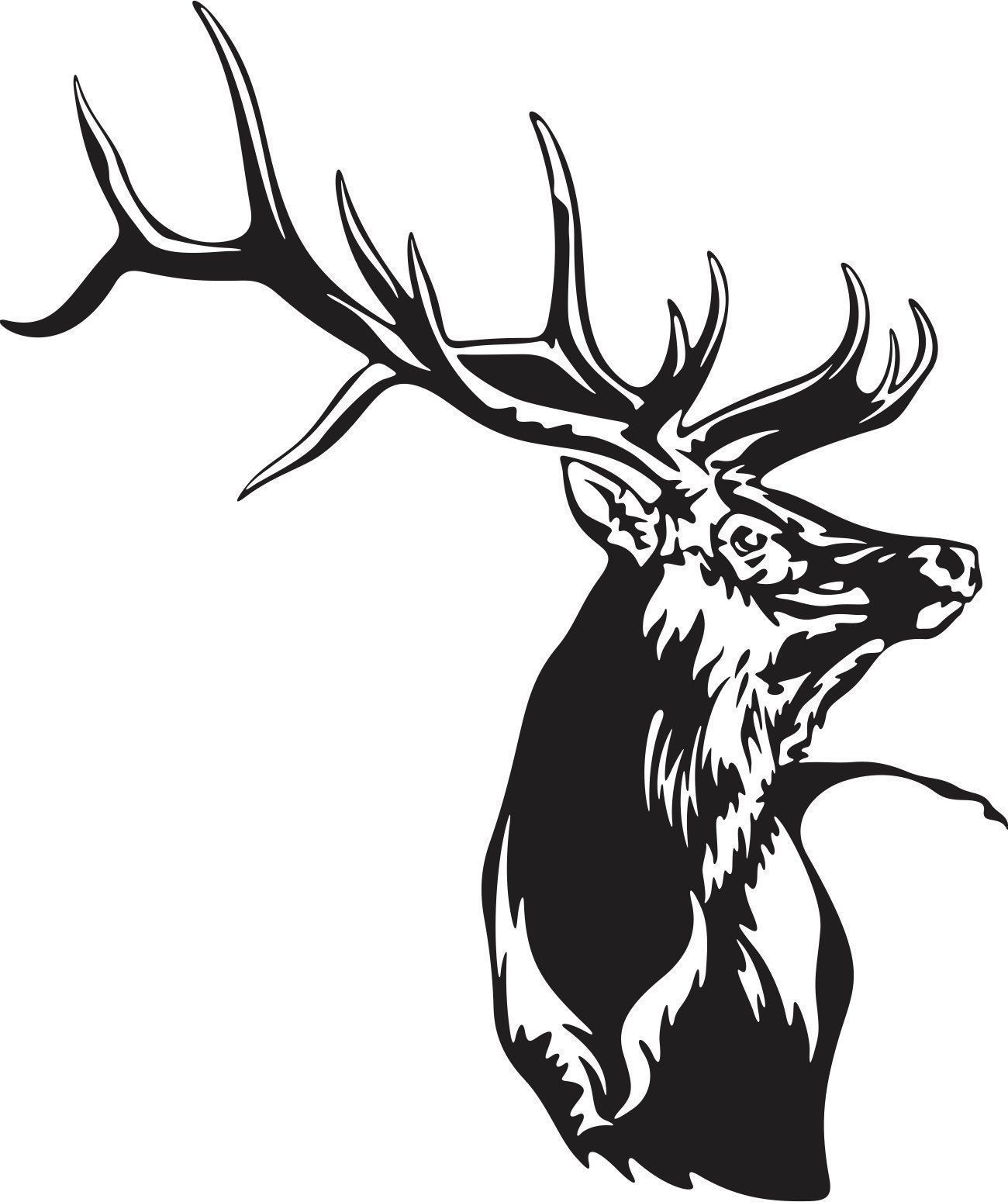Beautiful Detailed Elk Silhouette Mascot Decal