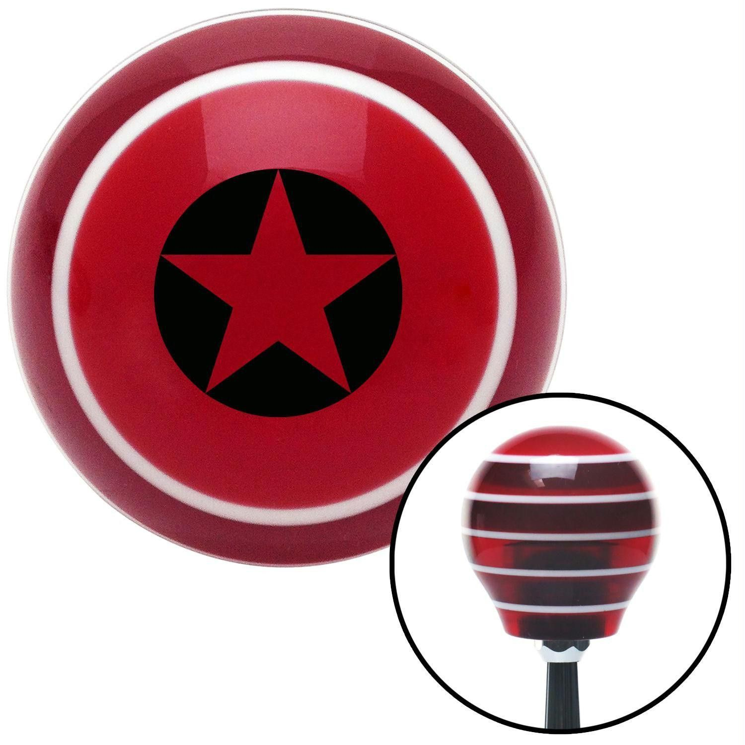 Black Star in Circle Outline Red Stripe Shift Knob with M16 x 15 Insert