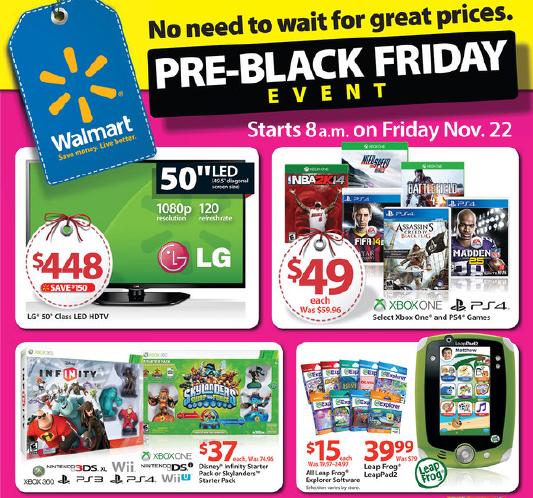 Walmart Black Friday Blitz Ad Nov 22 Hot Deals In Store And Online Time 2 Save Workshops Pre Black Friday Sales Pre Black Friday Black Friday Ads