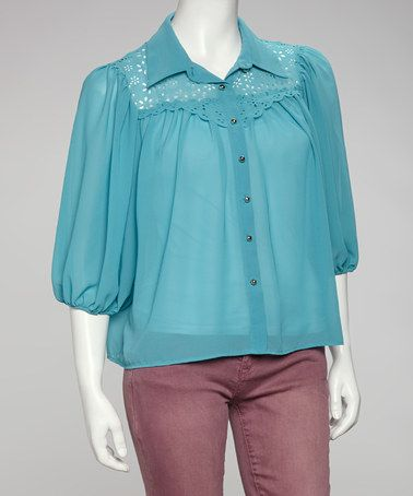 Take a look at this Teal Crocheted Chiffon Button-Up by Love Point on #zulily today! $19.99, regular 44.00