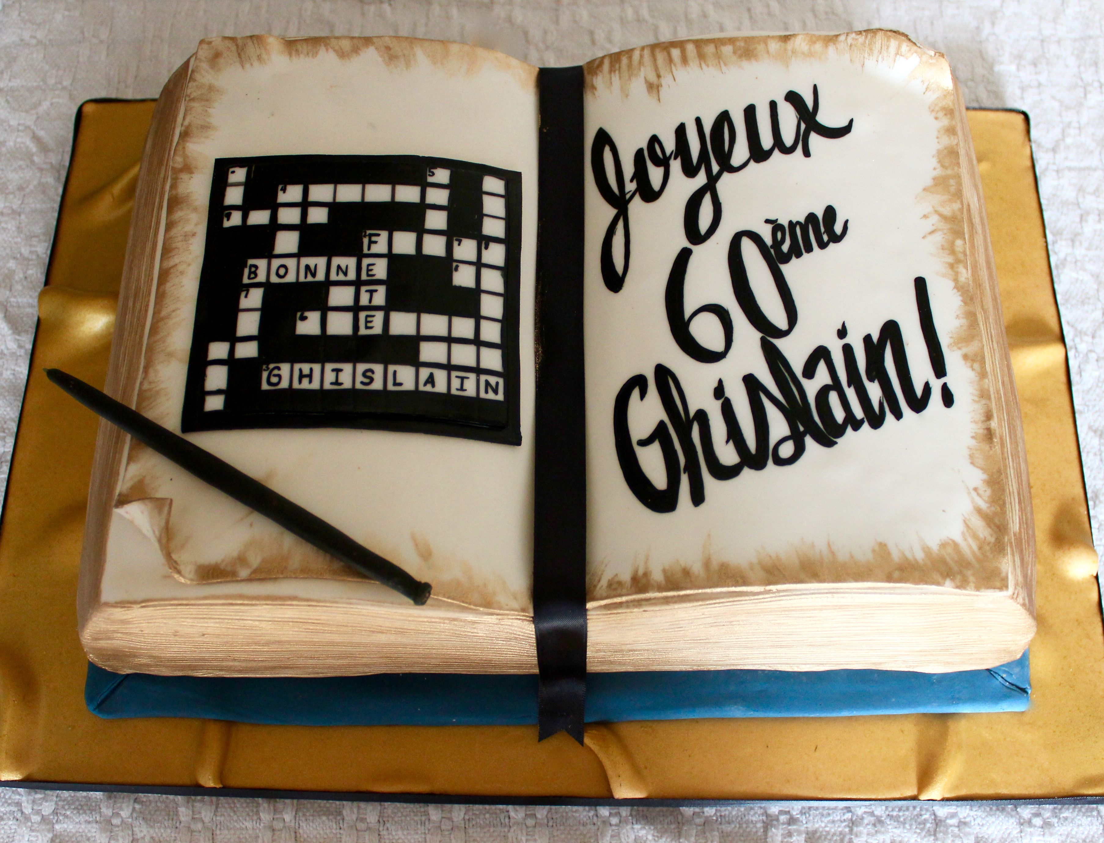 Crossword puzzle cake for writer book lover themed cake