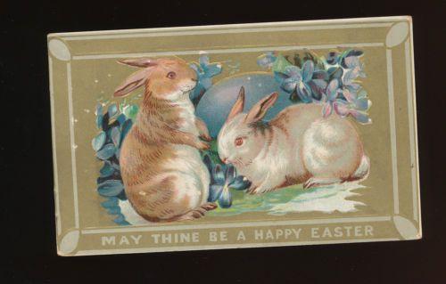 Cute Rabbits Flowers Vintage Antique Easter Postcard EEE632 | eBay