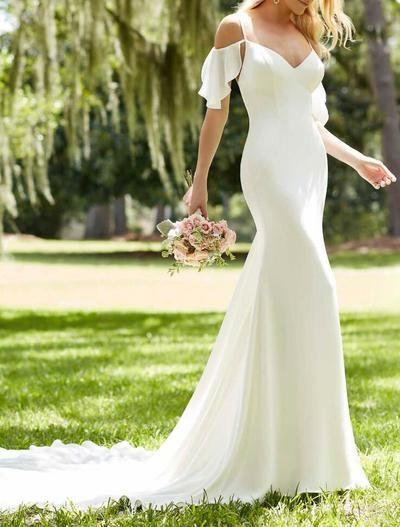 6fdc0efb587 Off Shoulder Sexy Simple Spaghetti Straps Meramid Wedding Dress