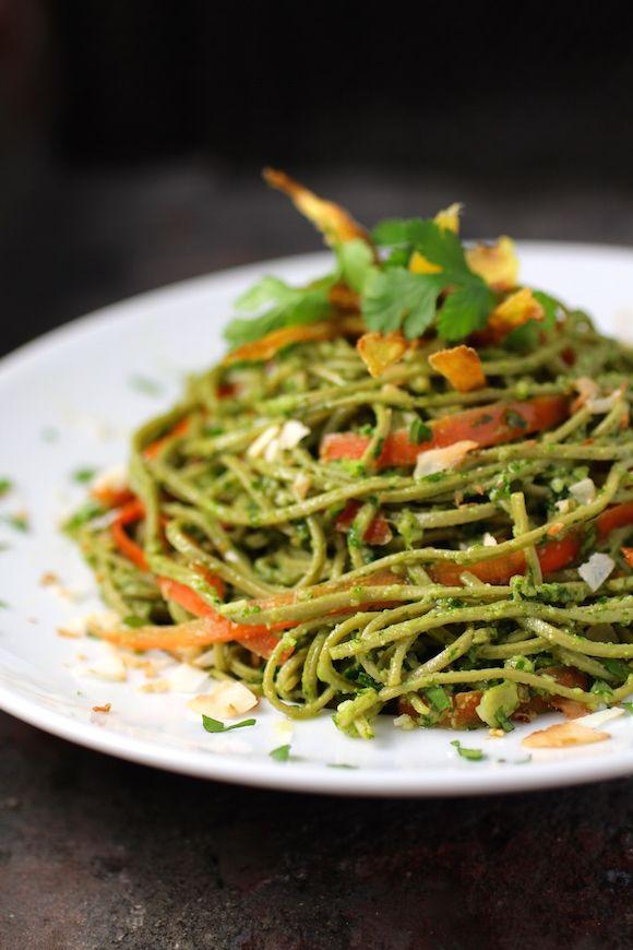 Edamame Spaghetti With Kale Cilantro Pesto Edamame Spaghetti