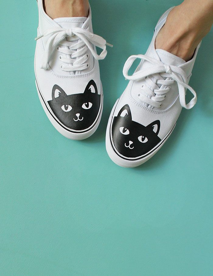 1a2da2ebb049 Make your own adorable DIY cat shoes easily with heat transfer vinyl. It s  easy to personalize your sneakers with this simple DIY technique.