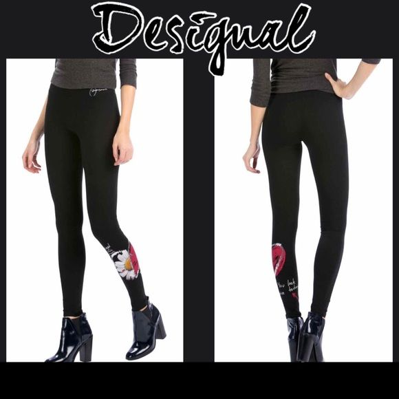 """⚪️ Just In! NWT Desigual Black Leggings Holy guacamole are these leggings ADORABLE!! Brand new black Desigual """"Laguna"""" leggings with """"Desigual"""" embroidered in white at the top and a blinged out flower and heart on the bottom of the left leg...size M Desigual Pants Leggings"""