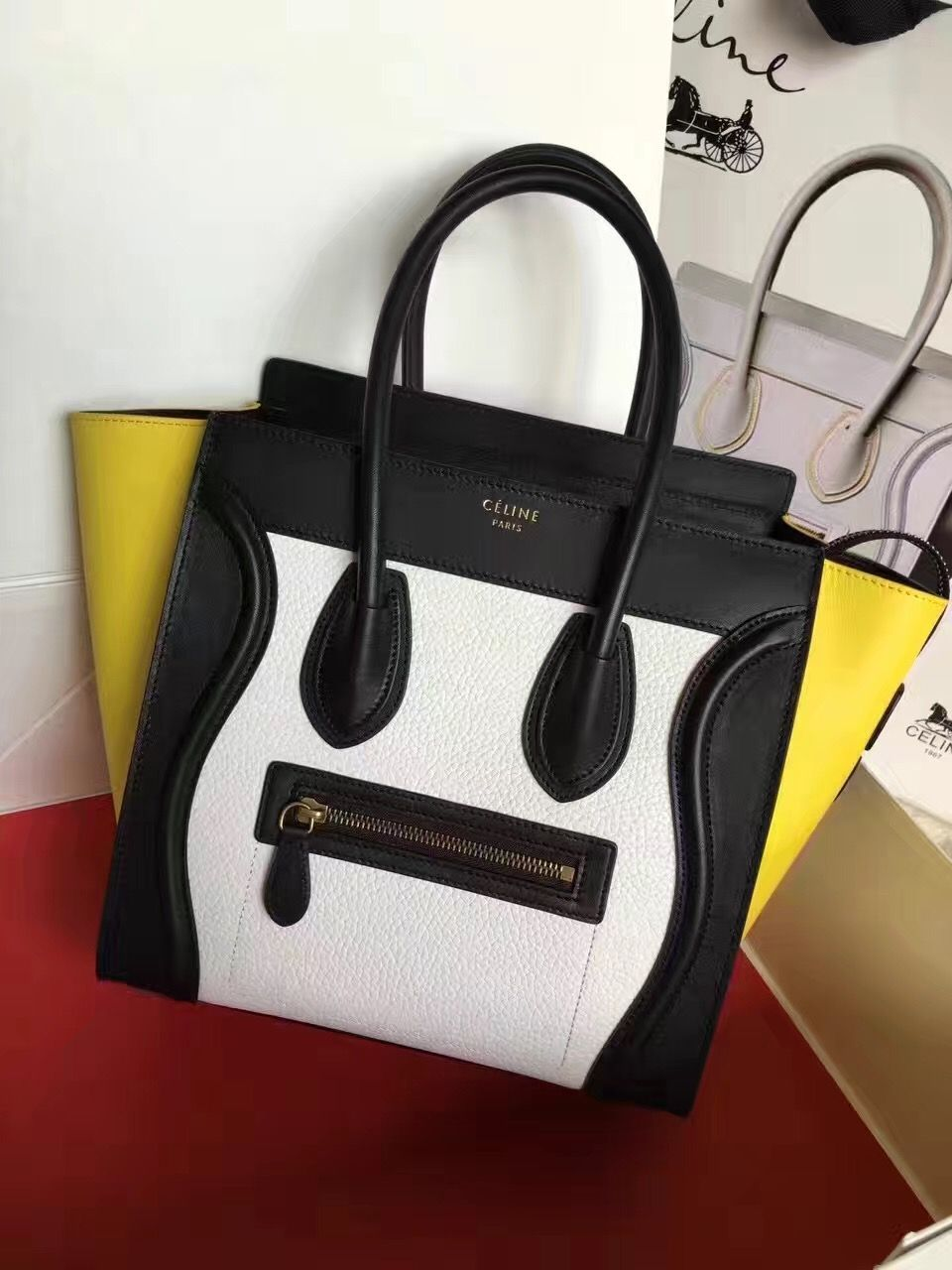 Celine Micro Luggage Yellow Black White Tricolor Bag