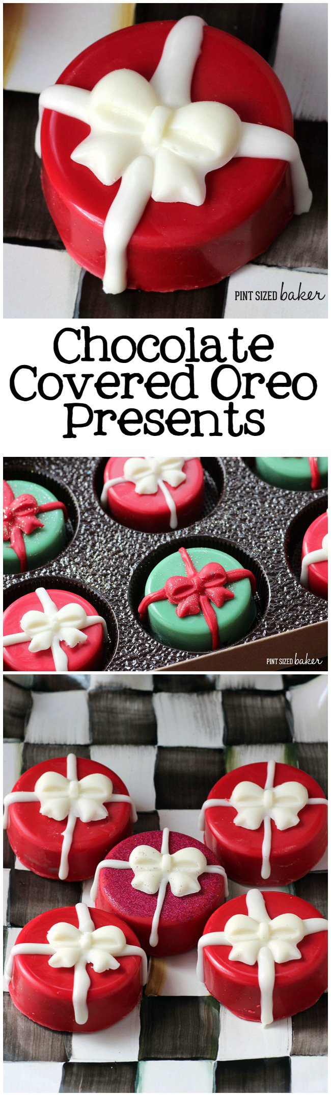 "Cute and perfect for gift giving - these chocolate covered Oreo ""presents"" are easy to make."