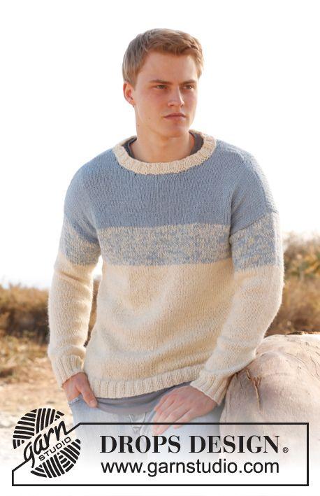 Free pattern: Knitted DROPS men's jumper in 2 strands