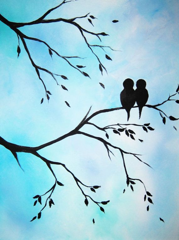 Large abstract painting art Love Birds in Tree modern contemporary canvas art 16x20x.75""