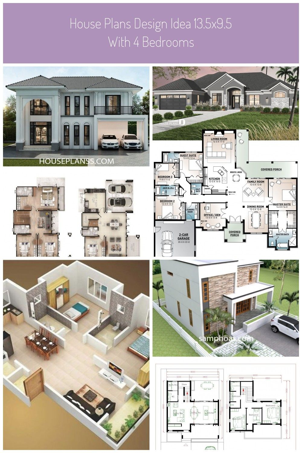 House Plans Design Idea 13 5x9 5 With 4 Bedrooms Home Ideassearch House Design Plans House Plans Design Idea 1 In 2020 Home Design Plans House Plans Architect House