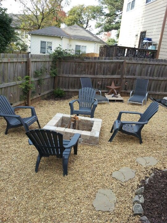 Diy fire pit and gravel outdoor area places spaces for Easy diy fire pit with grill