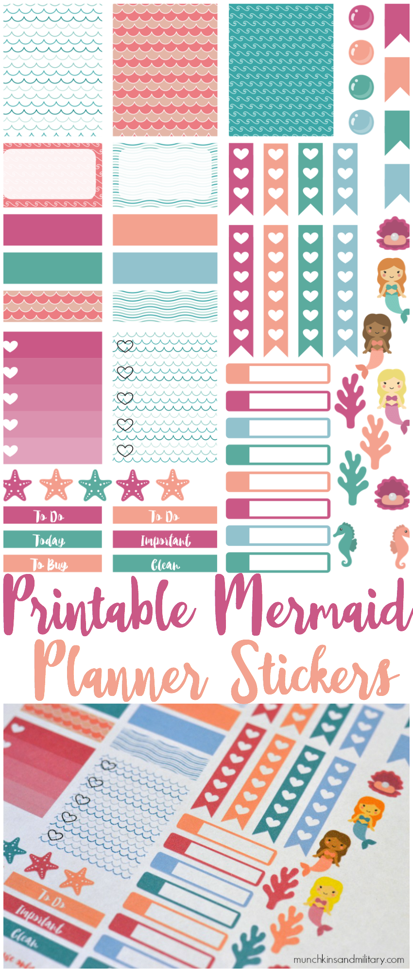 printable mermaid stickers frees life planner and 4 free printable mermaid planner stickers from munchkins and the miltary