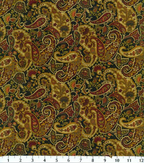 Keepsake Calico Fabric-Paisley-Black/BurgundyKeepsake Calico Fabric-Paisley-Black/Burgundy,