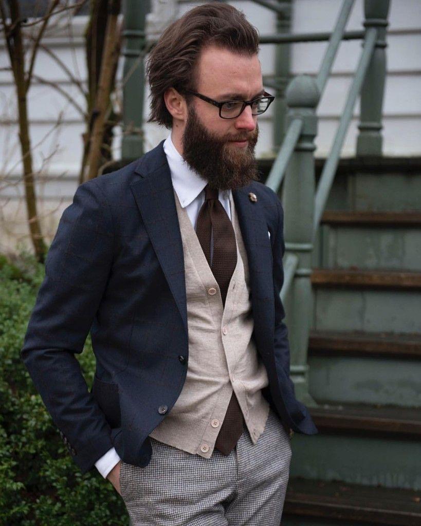 Navy jacket and brown details look layering cardigan tie beard