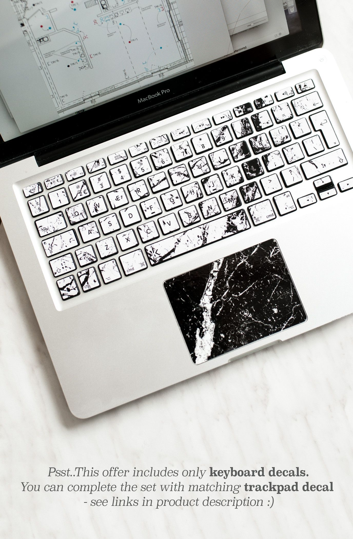 278571d6ec2 Macbook keyboard stickers with white and black marble. Available also for  other laptops :)