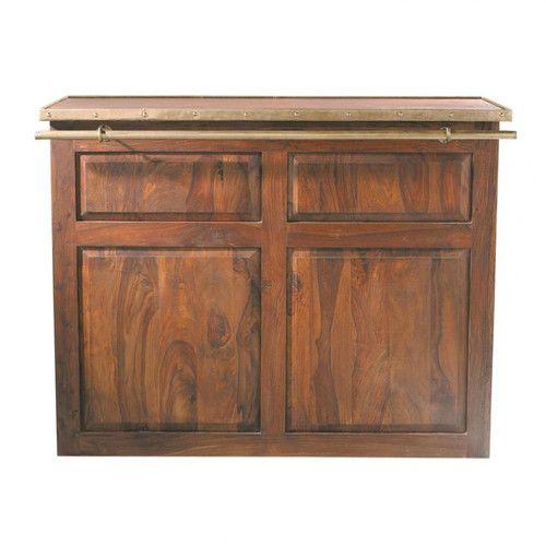 Meuble de bar en bois de sheesham massif L 132 cm | Mobile bar and ...