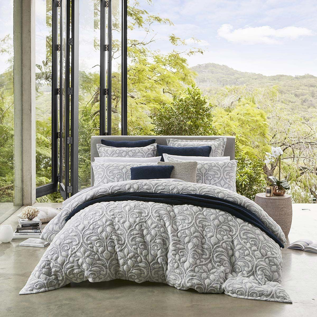 Liana Navy Quilt Cover Set By Logan & Mason makes a stunning ... : super king size quilt covers australia - Adamdwight.com