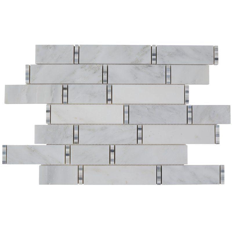 Harrison Random Sized Marble Mosaic Tile In First Snow Elegance