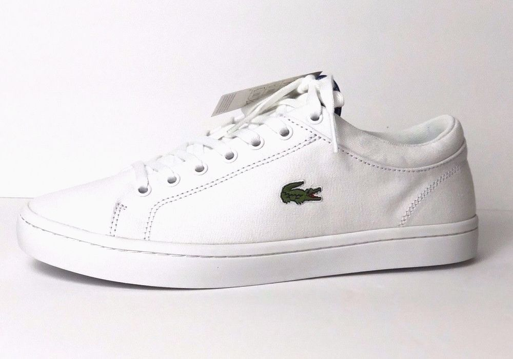 486b3765a731 Lacoste Women s Straightset BL 2 SPW Sneaker White Canvas Size 9 New In Box   Lacoste  LowTop