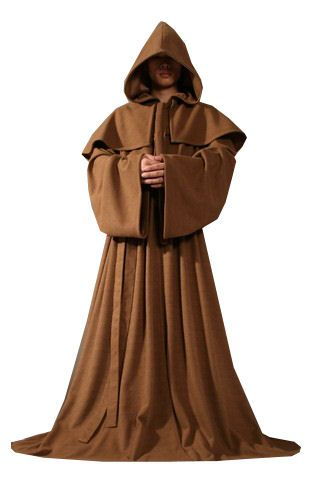 Monk Mens Fancy Dress Medieval Priest Brown Robe Adults Halloween Costume Outfit