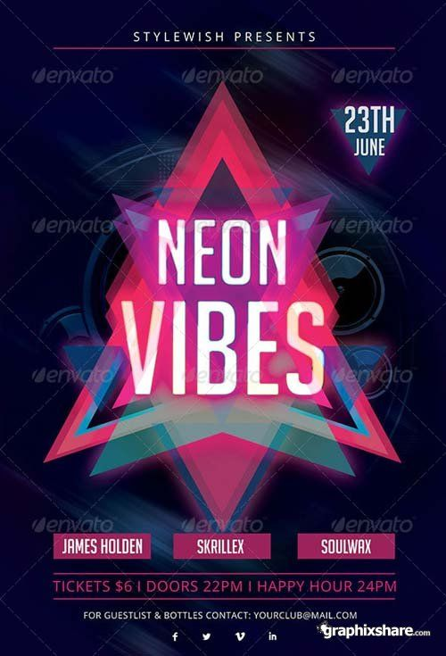 GraphicRiver Neon Vibes Flyer + Fb Timeline