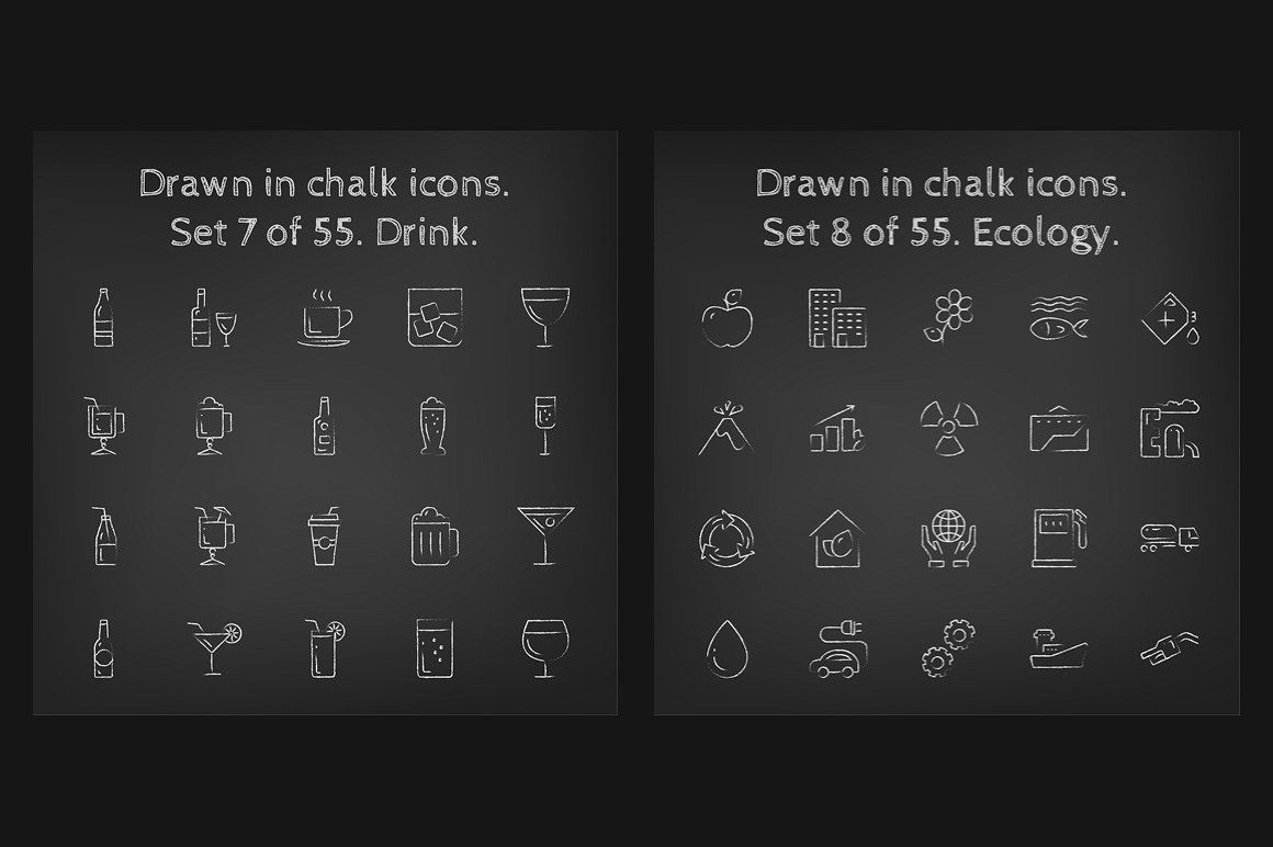 1100 Chalkboard vector icons pack icon, flaticon, icons