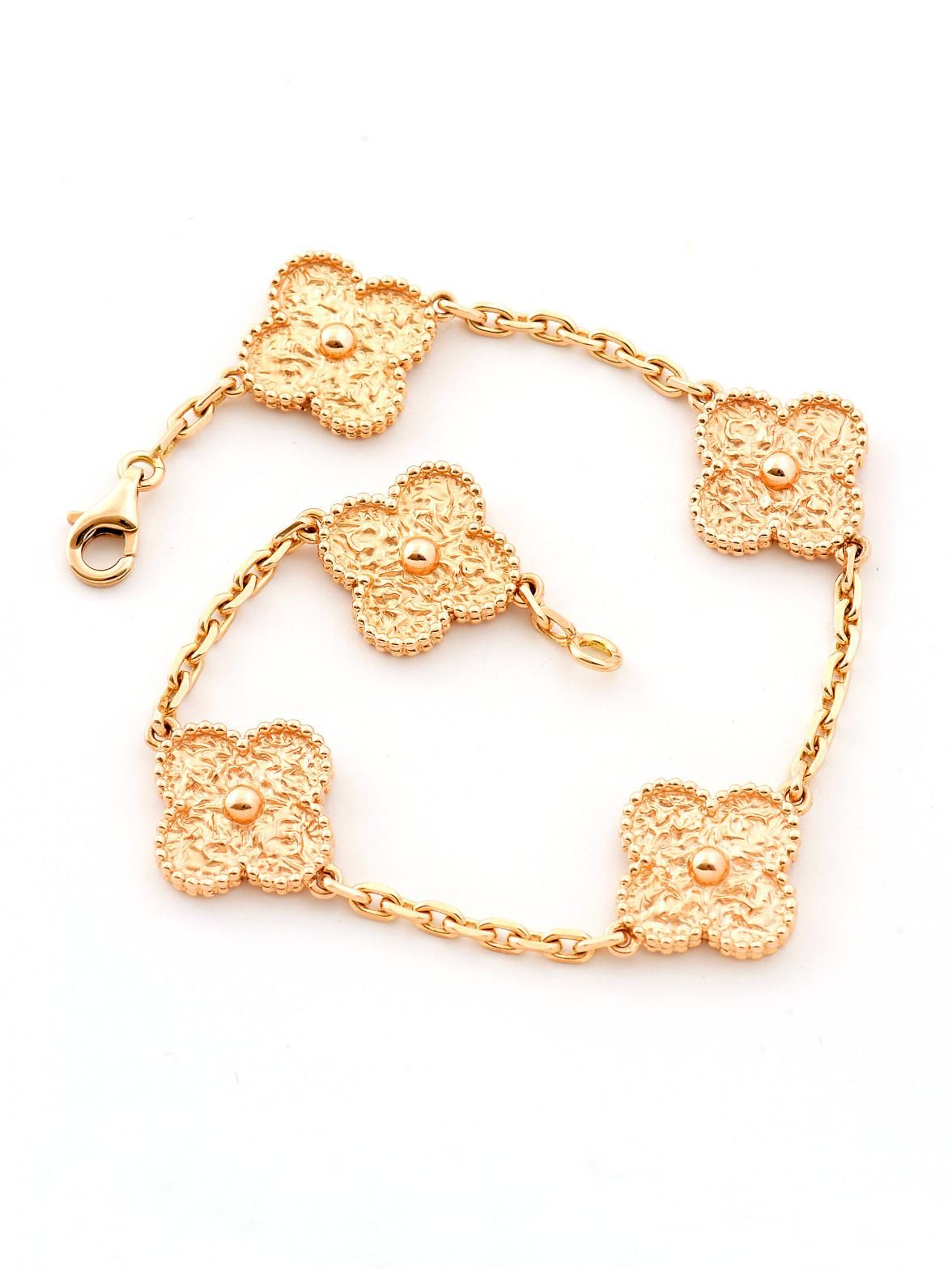 90e30760d8 Van Cleef   Arpels 18K Rose Gold 5 Motif Vintage Alhambra Bracelet at  London Jewelers!