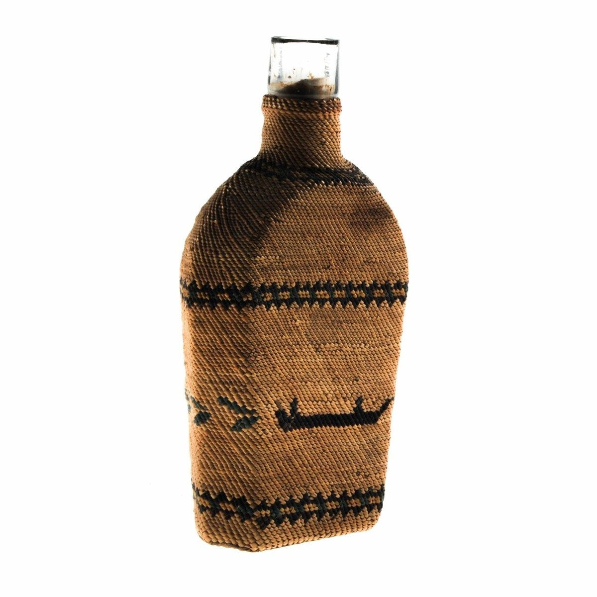 The Stamp and Coin Place - Makah Native American Wrapped Glass Bottle, circa 1900