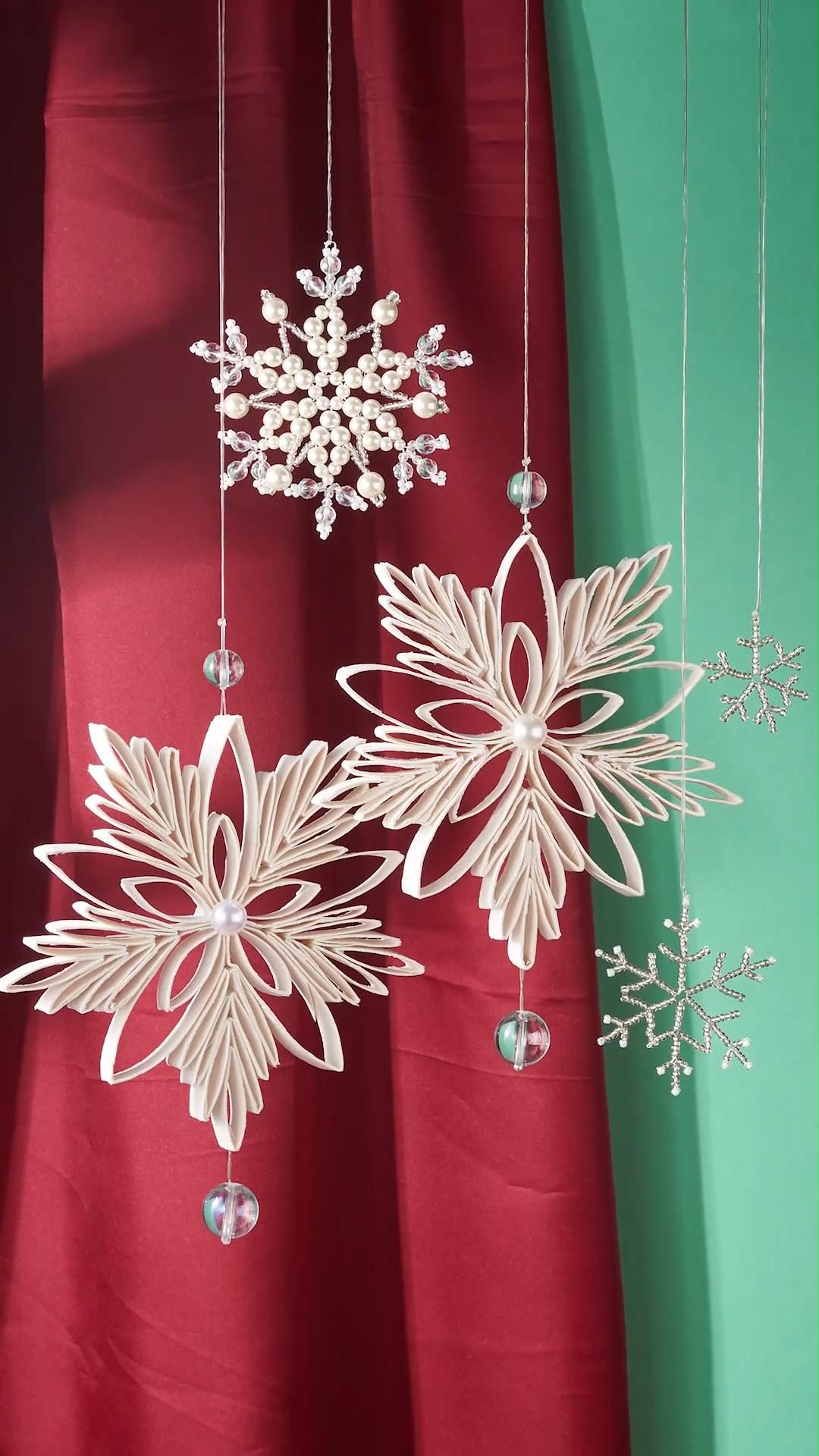 DIY Christmas Snow Flake Hanging Decorations Ornam
