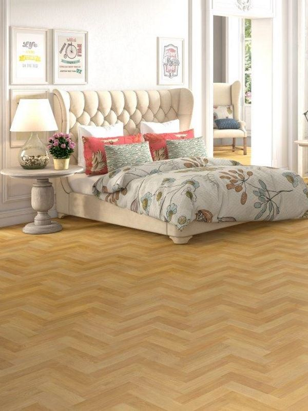 The Natural Parquet Flooring Really Makes This Bedroom Design Sing