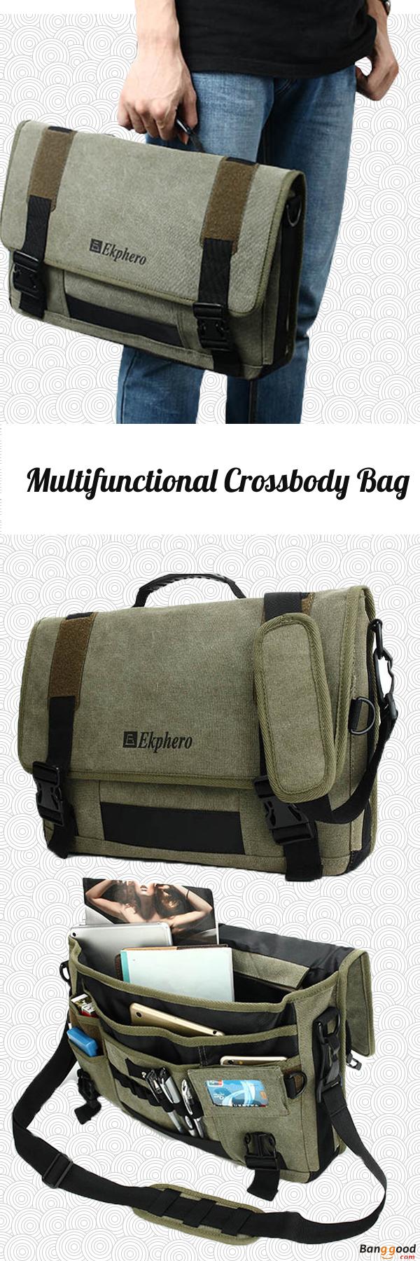 Men Canvas Multifunctional Big Capacity Outdoor 17.3 Inch Laptop Crossbody Bag  Handbag. Older Mens FashionTrendy ... cb48225f4d8dc