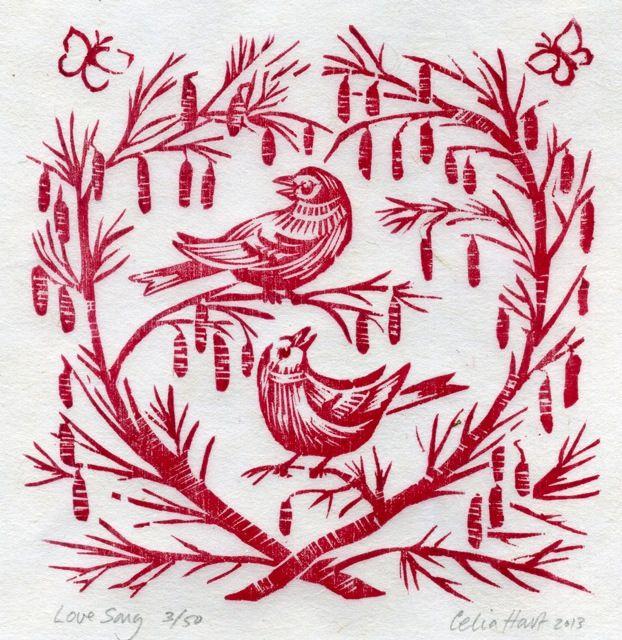 'love song' - 2 birds in a tree - celia hart, woodcut
