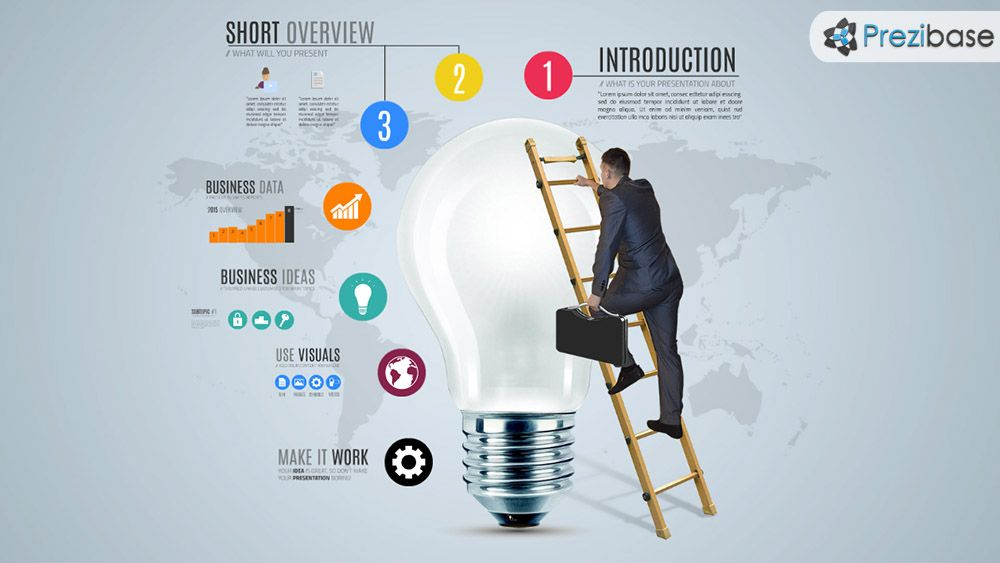 D Businessman Business Idea Climb Light Bulb Infographic Prezi