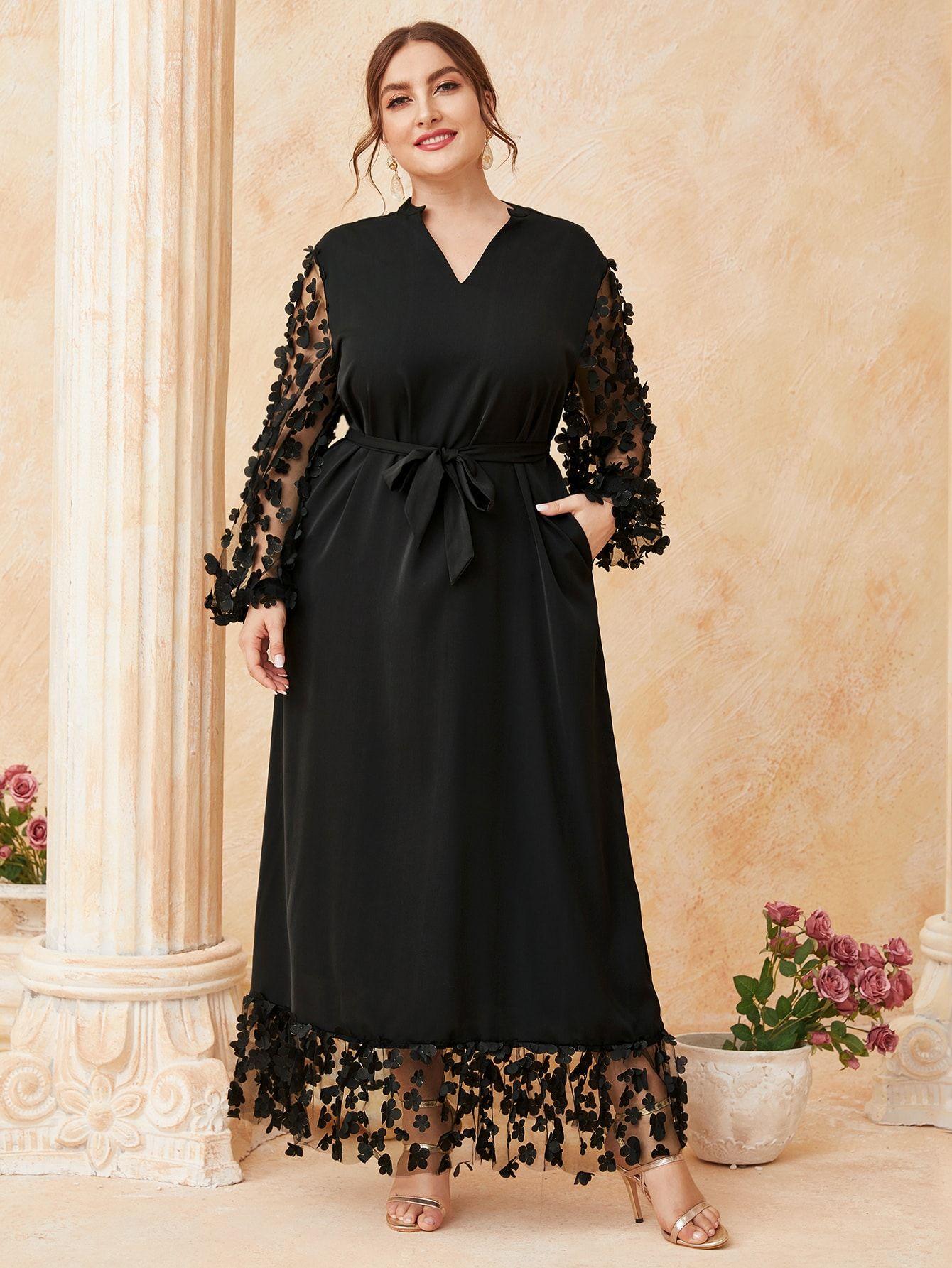 Plus 3d Applique Detail Belted Dress Shein Usa Dress Body Type Dresses Belted Dress [ 1785 x 1340 Pixel ]