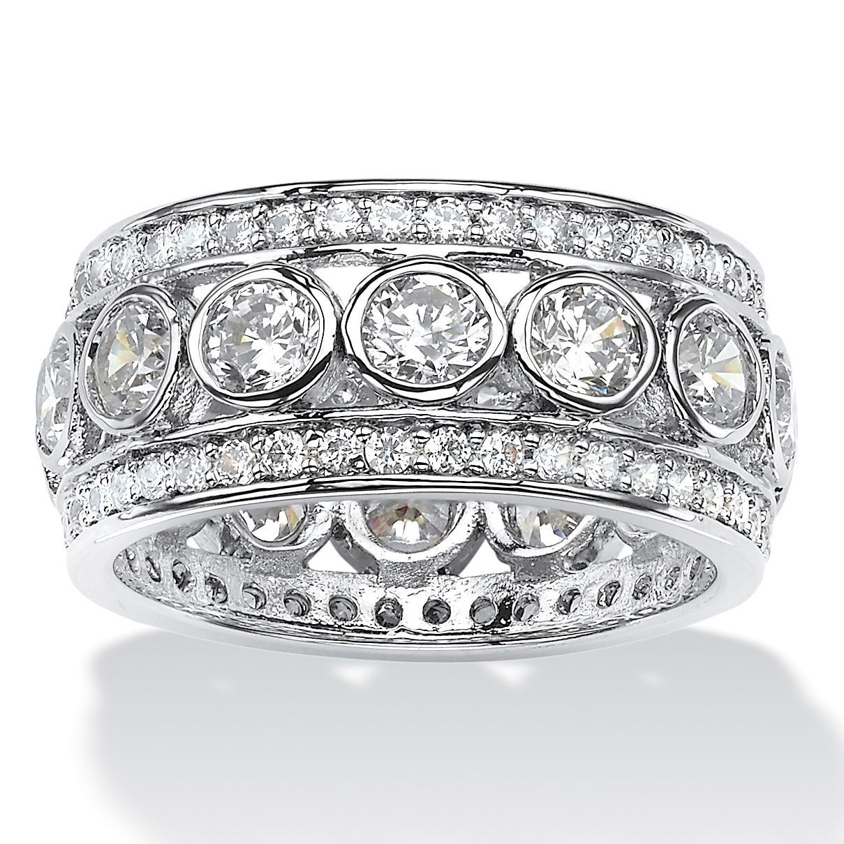Constructed of platinum over silver, this jewelry adds flair and fashion to your style. The grand eternity ring showcases a shining finish and cubic zirconia gemstones.