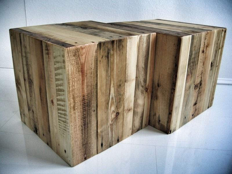 Tabouret cube en bois massif int rieur et ext rieur for Table exterieur palette