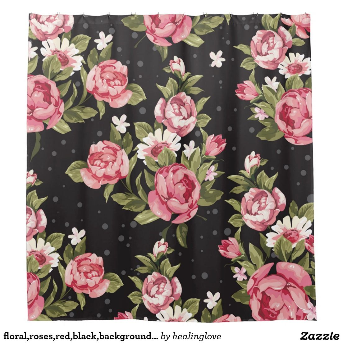 Floral,roses,red,black,background,shabby chic,pink shower