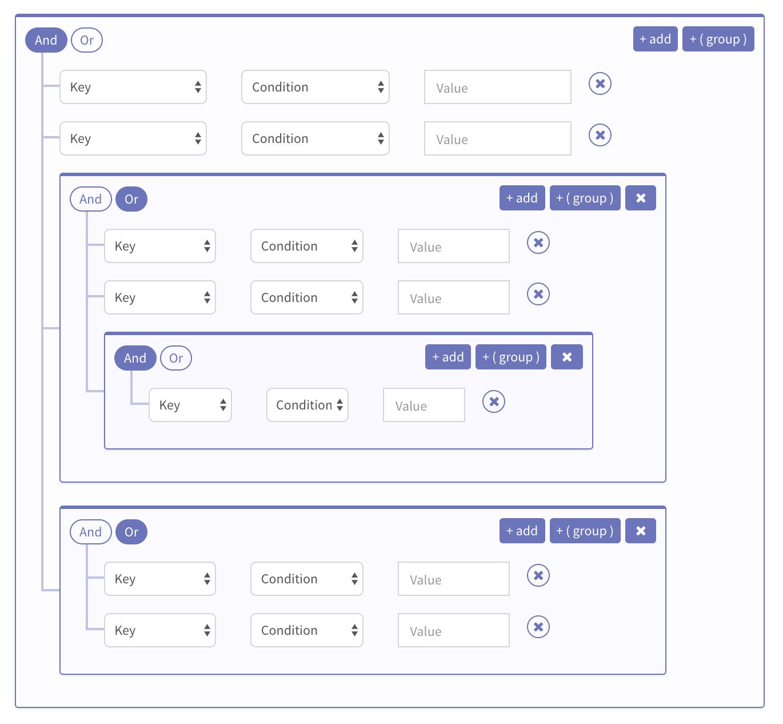 filterbuilder-ui-component-for-vue-js-2 | Ui design inspiration | Ui